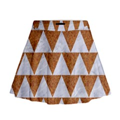 Triangle2 White Marble & Rusted Metal Mini Flare Skirt