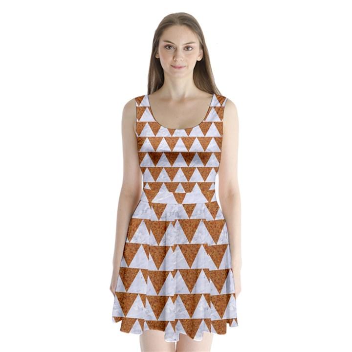 TRIANGLE2 WHITE MARBLE & RUSTED METAL Split Back Mini Dress