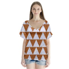 TRIANGLE2 WHITE MARBLE & RUSTED METAL V-Neck Flutter Sleeve Top