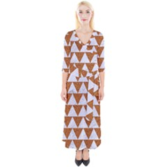 TRIANGLE2 WHITE MARBLE & RUSTED METAL Quarter Sleeve Wrap Maxi Dress