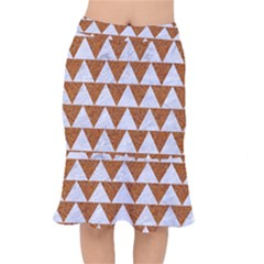 Triangle2 White Marble & Rusted Metal Mermaid Skirt