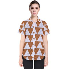 Triangle2 White Marble & Rusted Metal Women s Short Sleeve Shirt