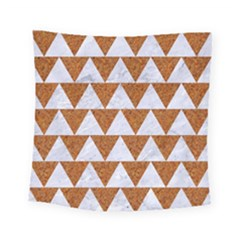 TRIANGLE2 WHITE MARBLE & RUSTED METAL Square Tapestry (Small)