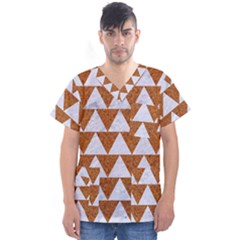 TRIANGLE2 WHITE MARBLE & RUSTED METAL Men s V-Neck Scrub Top