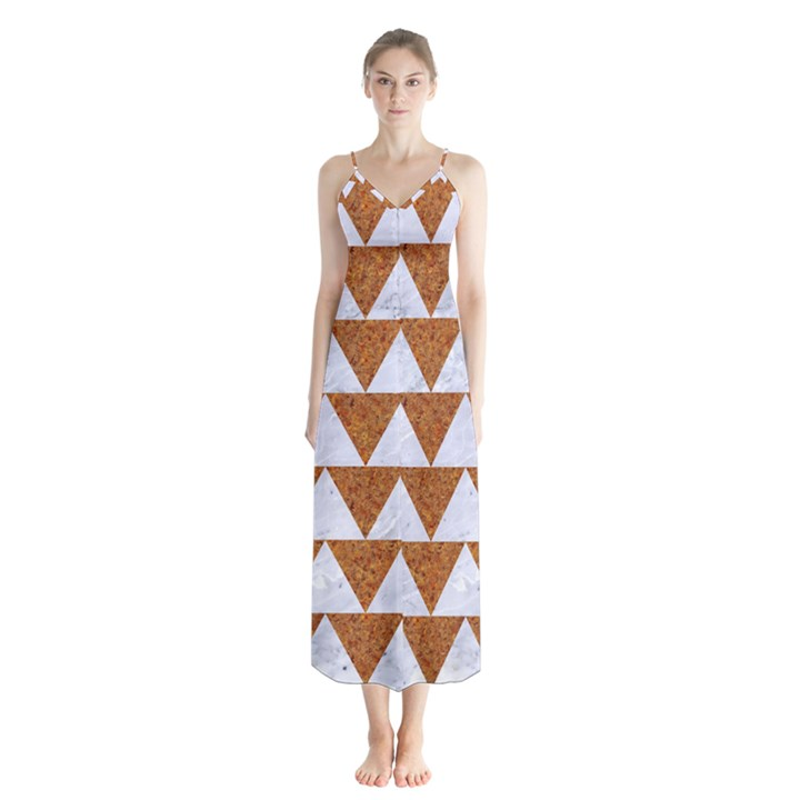 TRIANGLE2 WHITE MARBLE & RUSTED METAL Button Up Chiffon Maxi Dress