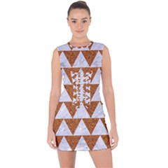 TRIANGLE2 WHITE MARBLE & RUSTED METAL Lace Up Front Bodycon Dress