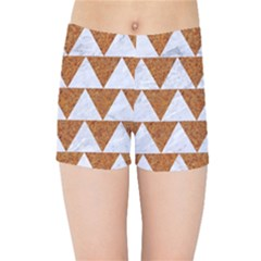 Triangle2 White Marble & Rusted Metal Kids Sports Shorts