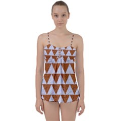 Triangle2 White Marble & Rusted Metal Babydoll Tankini Set