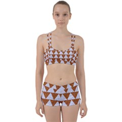 TRIANGLE2 WHITE MARBLE & RUSTED METAL Women s Sports Set