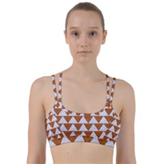 Triangle2 White Marble & Rusted Metal Line Them Up Sports Bra