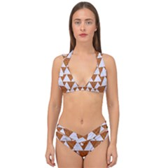 TRIANGLE2 WHITE MARBLE & RUSTED METAL Double Strap Halter Bikini Set
