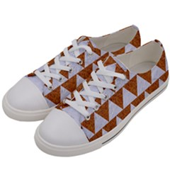 TRIANGLE2 WHITE MARBLE & RUSTED METAL Women s Low Top Canvas Sneakers