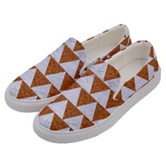 TRIANGLE2 WHITE MARBLE & RUSTED METAL Men s Canvas Slip Ons