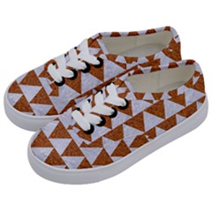 TRIANGLE2 WHITE MARBLE & RUSTED METAL Kids  Classic Low Top Sneakers