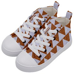 TRIANGLE2 WHITE MARBLE & RUSTED METAL Kid s Mid-Top Canvas Sneakers