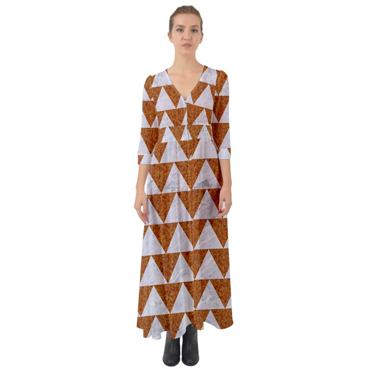 TRIANGLE2 WHITE MARBLE & RUSTED METAL Button Up Boho Maxi Dress