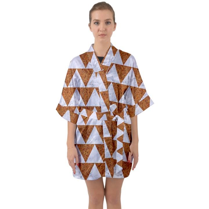 TRIANGLE2 WHITE MARBLE & RUSTED METAL Quarter Sleeve Kimono Robe