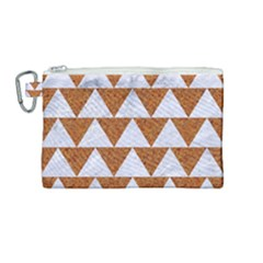 TRIANGLE2 WHITE MARBLE & RUSTED METAL Canvas Cosmetic Bag (Medium)
