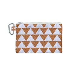 TRIANGLE2 WHITE MARBLE & RUSTED METAL Canvas Cosmetic Bag (Small)