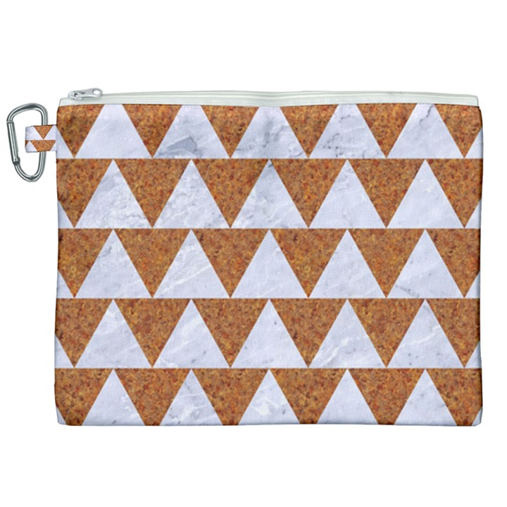 TRIANGLE2 WHITE MARBLE & RUSTED METAL Canvas Cosmetic Bag (XXL)