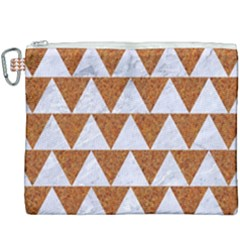 Triangle2 White Marble & Rusted Metal Canvas Cosmetic Bag (xxxl)