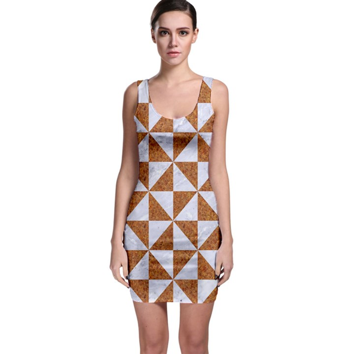 TRIANGLE1 WHITE MARBLE & RUSTED METAL Bodycon Dress