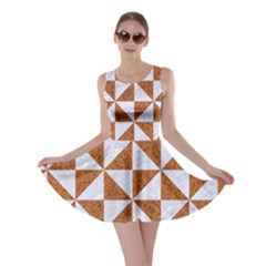 Triangle1 White Marble & Rusted Metal Skater Dress