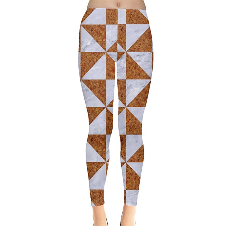 TRIANGLE1 WHITE MARBLE & RUSTED METAL Leggings