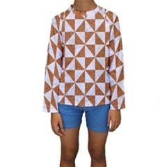 Triangle1 White Marble & Rusted Metal Kids  Long Sleeve Swimwear