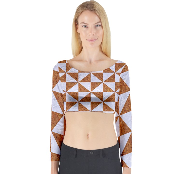 TRIANGLE1 WHITE MARBLE & RUSTED METAL Long Sleeve Crop Top