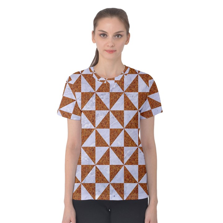 TRIANGLE1 WHITE MARBLE & RUSTED METAL Women s Cotton Tee