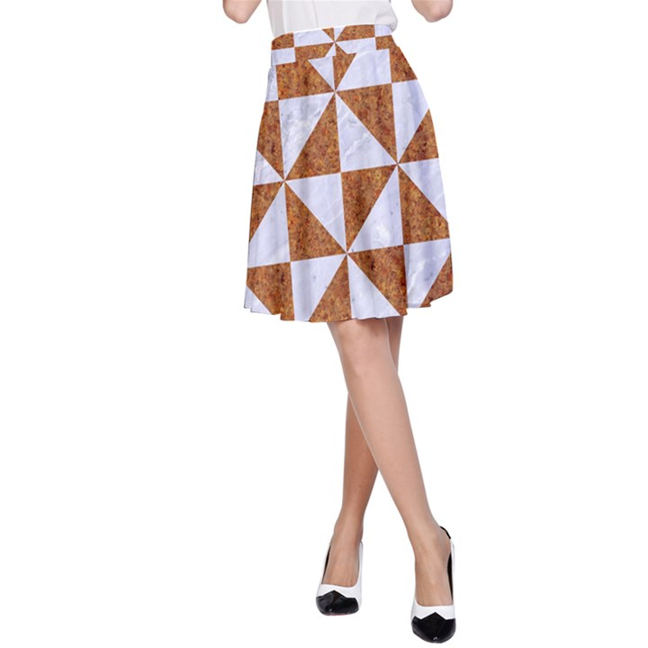 TRIANGLE1 WHITE MARBLE & RUSTED METAL A-Line Skirt