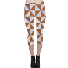 Triangle1 White Marble & Rusted Metal Capri Leggings