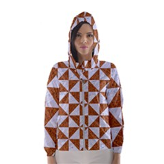 Triangle1 White Marble & Rusted Metal Hooded Wind Breaker (women)