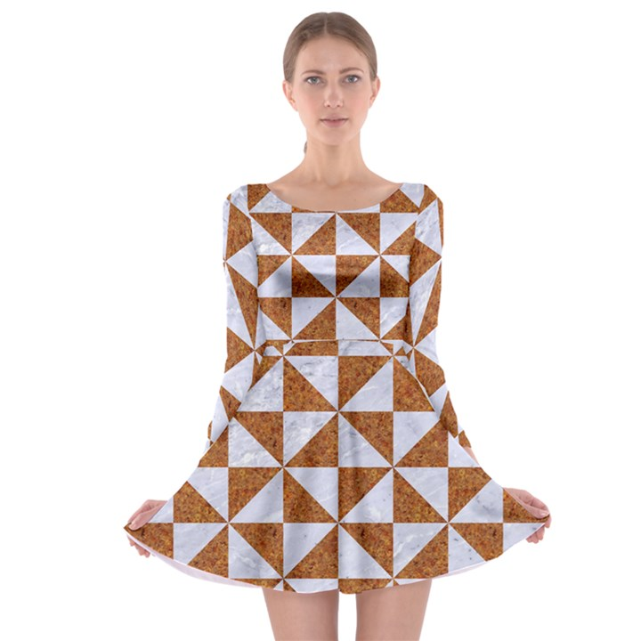TRIANGLE1 WHITE MARBLE & RUSTED METAL Long Sleeve Skater Dress