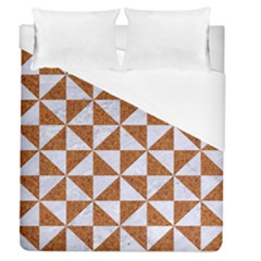 TRIANGLE1 WHITE MARBLE & RUSTED METAL Duvet Cover (Queen Size)