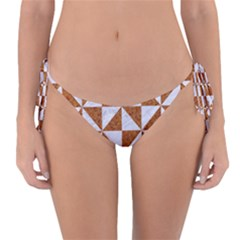 TRIANGLE1 WHITE MARBLE & RUSTED METAL Reversible Bikini Bottom