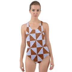 TRIANGLE1 WHITE MARBLE & RUSTED METAL Cut-Out Back One Piece Swimsuit