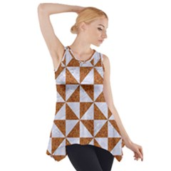 TRIANGLE1 WHITE MARBLE & RUSTED METAL Side Drop Tank Tunic
