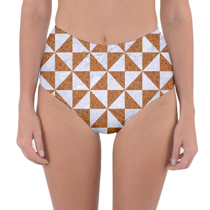 TRIANGLE1 WHITE MARBLE & RUSTED METAL Reversible High-Waist Bikini Bottoms