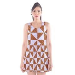 TRIANGLE1 WHITE MARBLE & RUSTED METAL Scoop Neck Skater Dress
