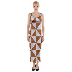 Triangle1 White Marble & Rusted Metal Fitted Maxi Dress