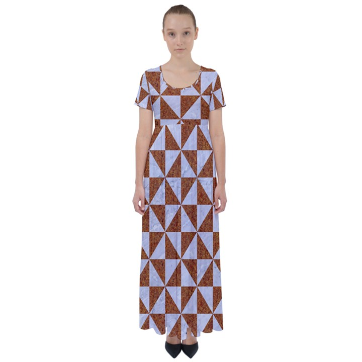 TRIANGLE1 WHITE MARBLE & RUSTED METAL High Waist Short Sleeve Maxi Dress