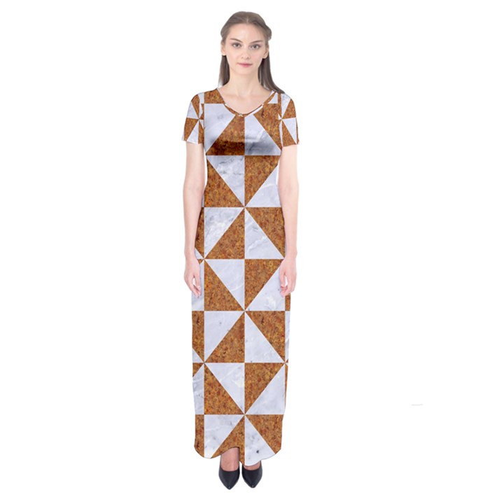TRIANGLE1 WHITE MARBLE & RUSTED METAL Short Sleeve Maxi Dress