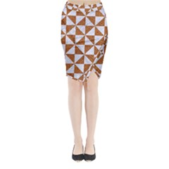 TRIANGLE1 WHITE MARBLE & RUSTED METAL Midi Wrap Pencil Skirt