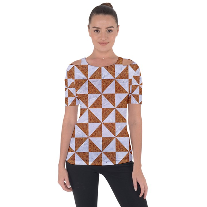 TRIANGLE1 WHITE MARBLE & RUSTED METAL Short Sleeve Top