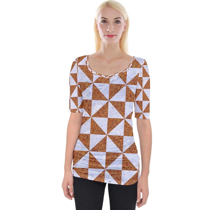 TRIANGLE1 WHITE MARBLE & RUSTED METAL Wide Neckline Tee