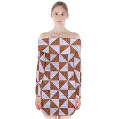 TRIANGLE1 WHITE MARBLE & RUSTED METAL Long Sleeve Off Shoulder Dress