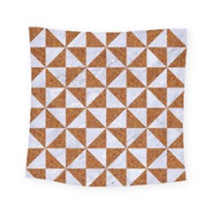 TRIANGLE1 WHITE MARBLE & RUSTED METAL Square Tapestry (Small)