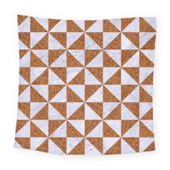Triangle1 White Marble & Rusted Metal Square Tapestry (large) by trendistuff